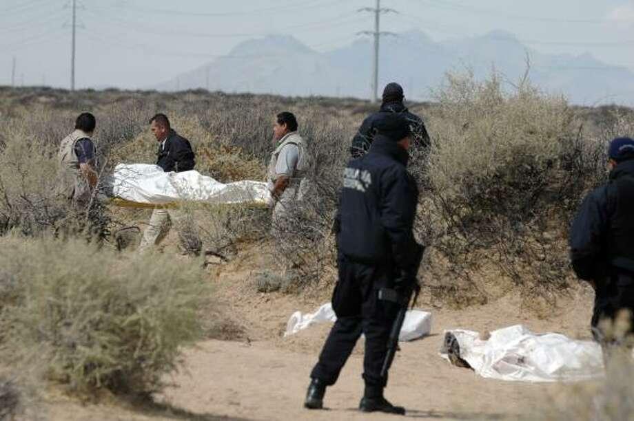 Policías y forenses trabajan en el lugar donde se encontraron siete cadáveres en las afueras de Ciudad Juárez. Photo: AP