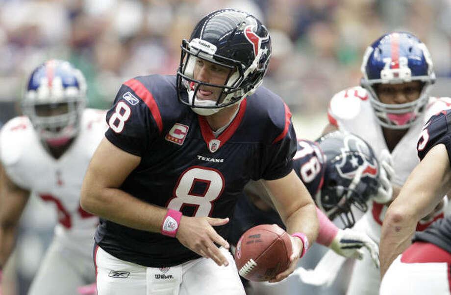 Texans quarterback Matt Schaub has had an uneven start to the season, throwing for just seven touchdowns in five games. Photo: Karen Warren, Chronicle