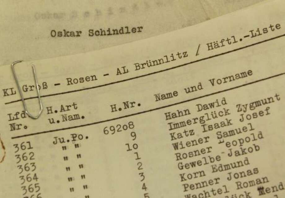 A typewriter that still holds a page of names used in the Steven Spielberg film Schindler's List is among the items to be displayed at the museum. (Oskar Schindler was a German who saved Jews during the Holocaust.) Photo: FILE PHOTO