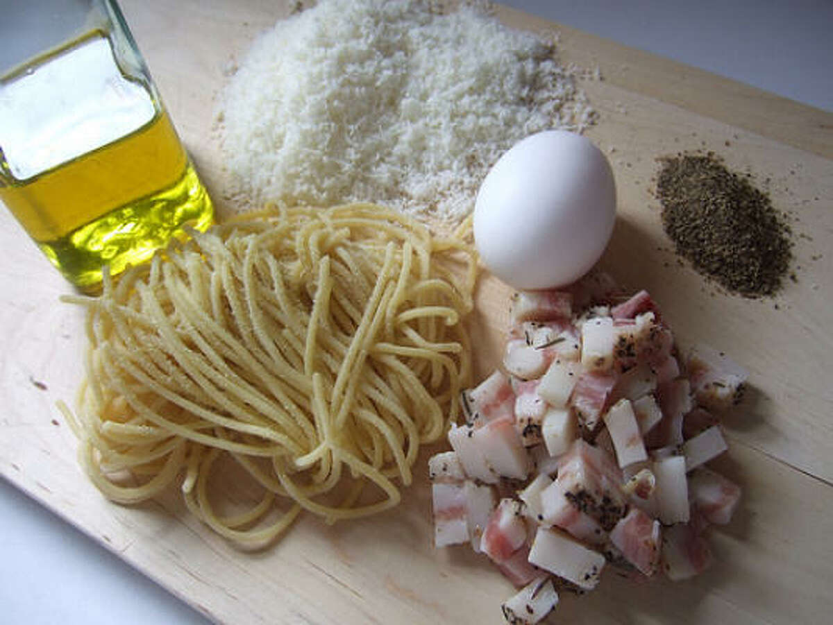 The recipe for traditional carbonara is deviously simple: pasta, eggs, cheese, cured meat and black pepper.