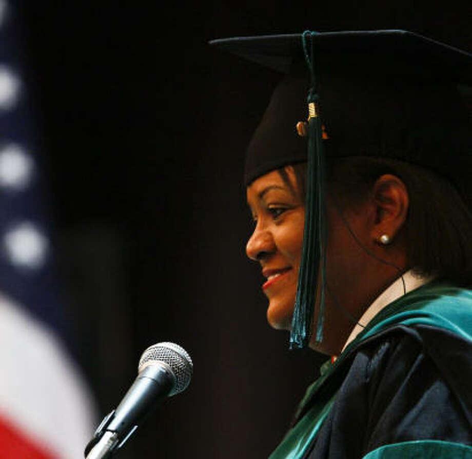 Dr. Regina Benjamin, U.S. surgeon general, delivers the commencement speech on Saturday. Photo: Michael Paulsen, Chronicle