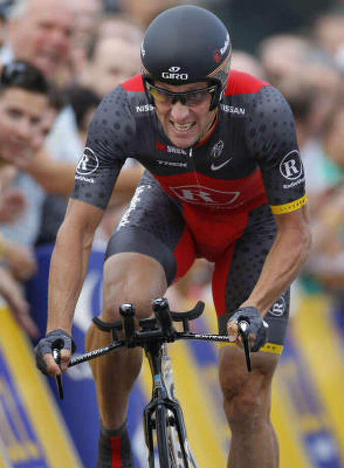 Seven-time Tour de France winner Lance Armstrong finished fourth in Saturday's prologue. Photo: Laurent Rebours, AP