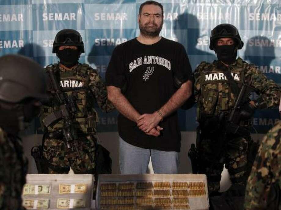 Suspect Sergio Villarreal Barragan is presented to the press in Mexico City. Photo: Miguel Tovar, AP