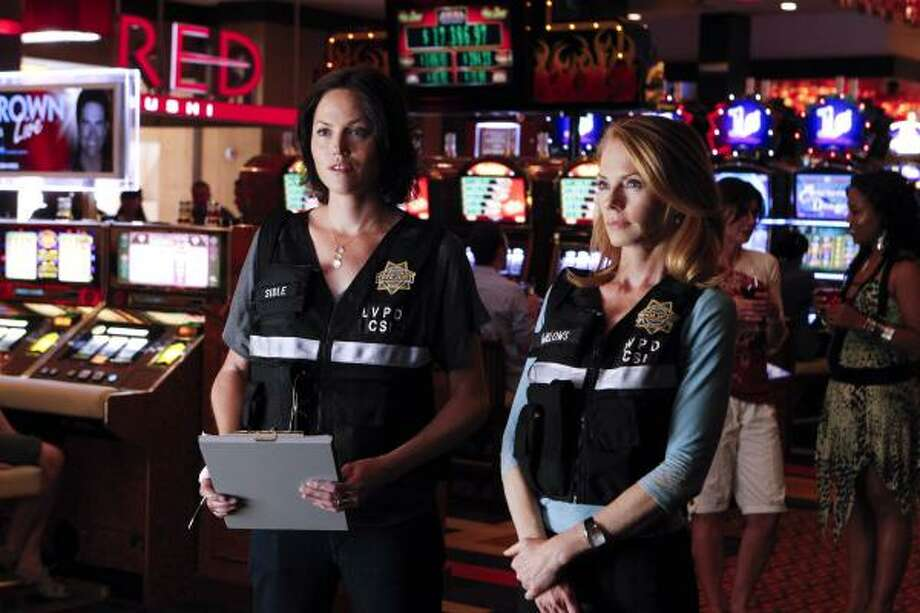 Jorja Fox, left, and Marg Helgenberger star in tonight's episode of CSI: Crime Scene Investigation, which was shot at the Golden Nugget Hotel and Casino. Photo: SONJA FLEMMING, CBS