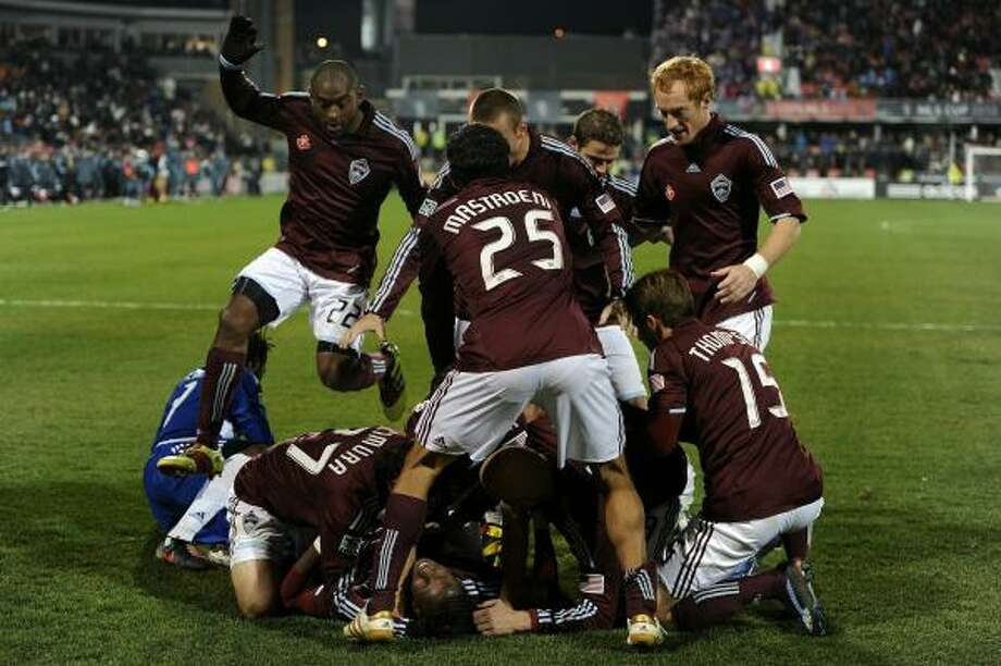 The Colorado Rapids celebrate a goal during overtime on Sunday. Photo: Harry How, Getty Images