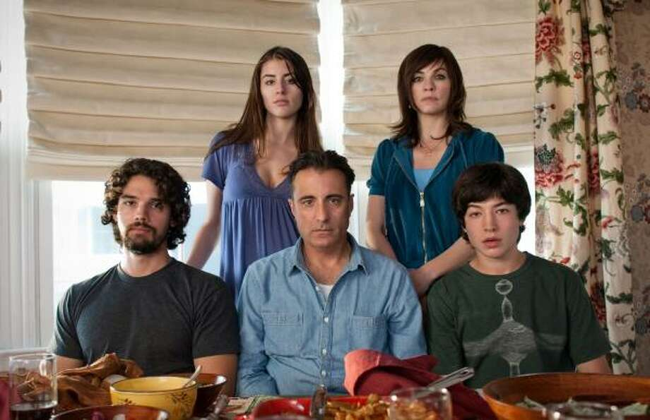 Steven Strait, from left, Dominik Garcia-Lorido, Andy Garcia, Julianna Margulies and Ezra Mille play a Bronx Italian family in City Island. Photo: Phil V. Caruso, AP