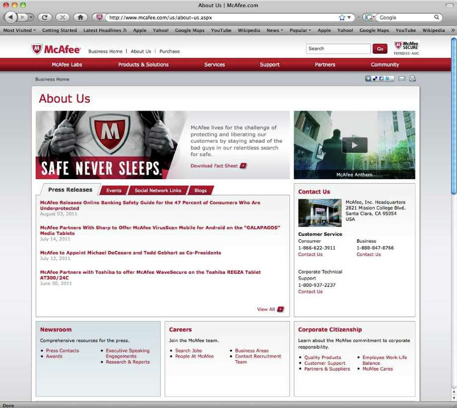 This screen shot shows the McAfee website. A computer security firm says cybercriminals have spent at least the past five years targeting more than 70 government entities, nonprofit groups and corporations to steal troves of data. McAfee Inc. said in a report Wednesday, Aug. 3, 2011, that the attacks have targeted a broad range of organizations, including the United Nations, the International Olympic Committee and companies in mostly in the United States. (AP Photo) / McFee Inc