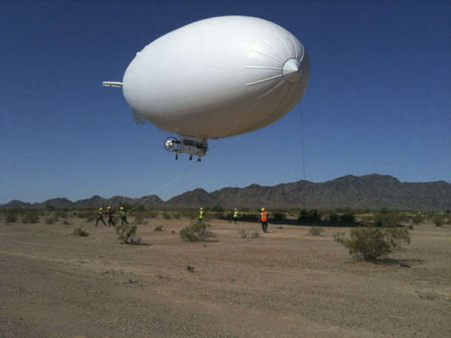 The Navy's MZ-3A airship is on its way to the Gulf Coast to help spot oil in need of skimming. It's the first airship to be used in an oil spill response. Photo: U.S. Navy File