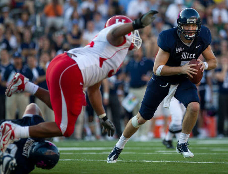 Rice quarterback Nick Fanuzzi has completed 63 percent of his passes with no interceptions the past two weeks. Photo: Smiley N. Pool, Chronicle
