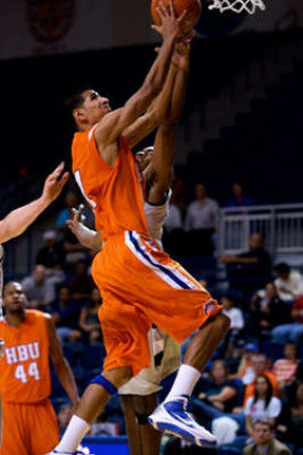 Houston Baptist junior forward Andrew Gonzalez averaged 31.5 and 13.5 rebounds in two games last week. Photo: Anthony Vasser, Houston Baptist