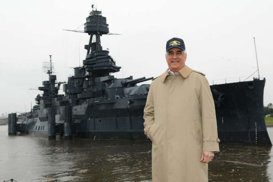 MIGHTY SHIP: Steven Howell, executive director of the Battleship Texas Foundation, said donations are needed to construct a permanent dry berth for the aging battleship, which is moored at the San Jacinto Battleground State Historic Site. Photo: Kim Christensen, For The Chronicle