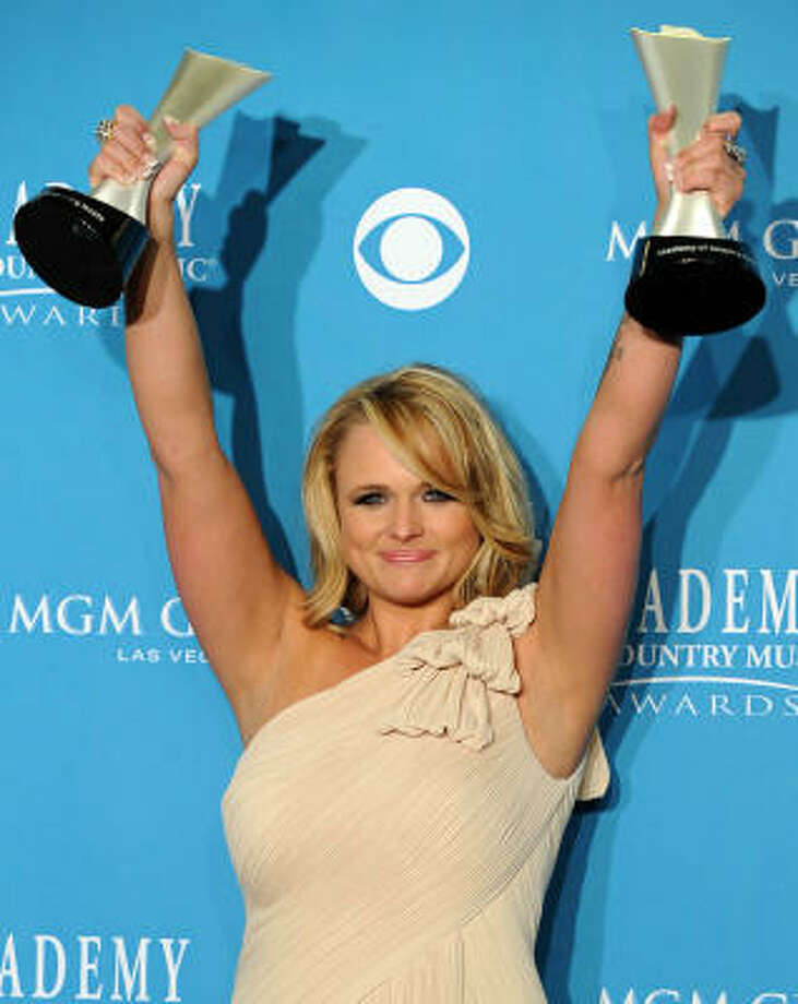 Miranda Lambert won the female vocalist of the year, album of the year and video of the year awards at the Academy of Country Music Awards this past weekend. Photo: GABRIEL BOUYS :, AFP/Getty Images