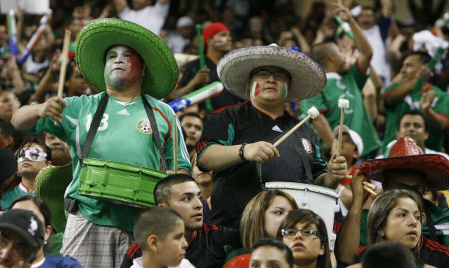 Mexico supporters packed Reliant Stadium for a friendly match between Mexico and Angola. Photo: Julio Cortez, Chronicle