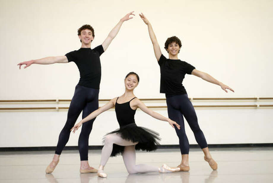 Aaron Sharratt, from left, Liao Xiang and Emanuel Amuchastegui are all Houston Ballet II students. Photo: Karen Warren, Chronicle