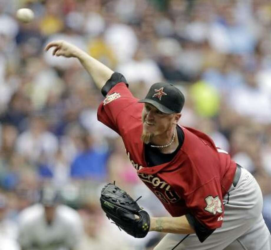 Astros starter Brett Myers allowed four earned runs in six innings against the Brewers. Photo: Morry Gash, AP