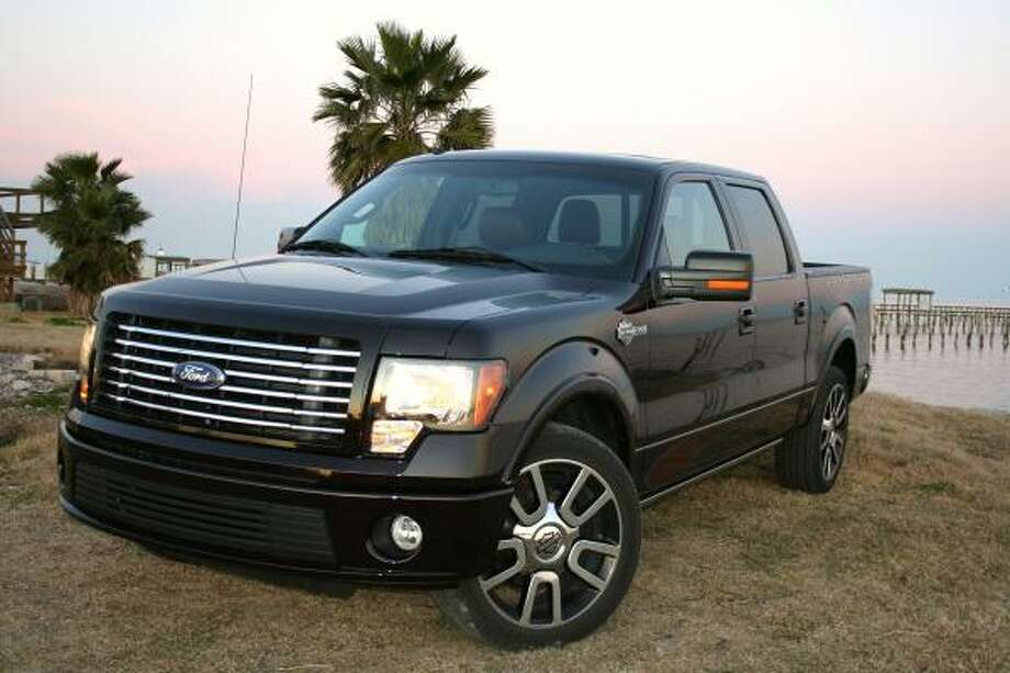 Ford's 2010 Harley-Davidson F-150 pickup is clad in Tuxedo Black or Lava paint, and accented with a billet-style chrome grille, Harley badging and custom 22-inch wheels. Its base price is $43,355.  Ford's 2010 Harley-Davidson F-150 pickup is clad in Tuxedo Black or Lava paint, and accented with a billet-style chrome grille, Harley badging and custom 22-inch wheels. Its base price is $43,355.