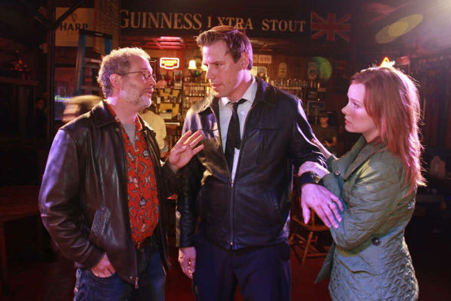 Philip Lehl, from left, Drake Simpson and Ivy Castle-Rush star in Fault Lines. Photo: Gary Fountain, For The Chronicle