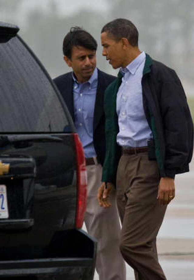 President Obama, shown with Louisiana Gov. Bobby Jindal during a May 2 visit where Obama surveyed damage from the oil leak in Louisiana, pledged federal support with the cleanup. Photo: Melissa Phillip, Chronicle