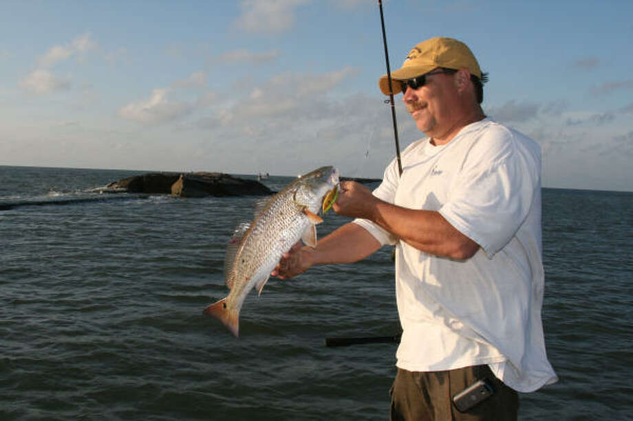 Redfish are one of several species of game fish commonly encountered by anglers fishing jetties along the Texas coast. Photo: Shannon Tompkins, Chronicle