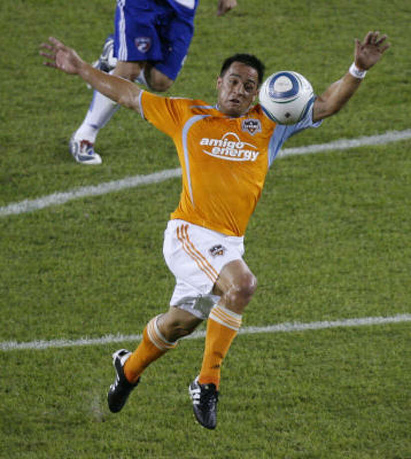 Danny Cruz found the net in his first MLS start just minutes after having a shot stopped. Photo: Chronicle File Photo