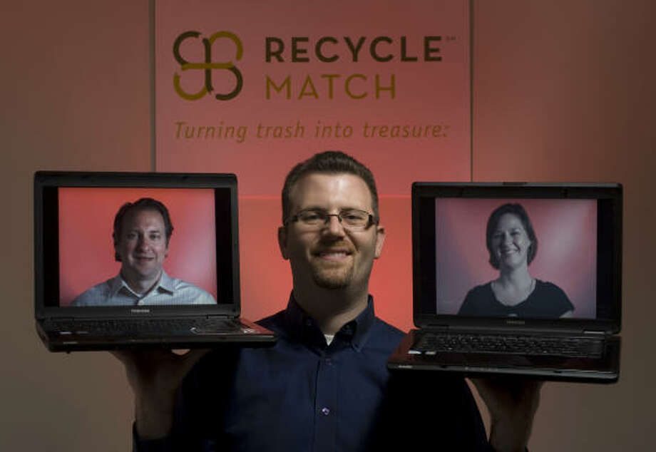 Marc Nathan, center, is spearheading the effort to launch a local seed incubator, promoting companies such as Houston-based RecycleMatch, run by Chad Farrell and Farrell's sister-in-law Brooke Betts Farrell. Nathan says he has about 10 accomplished entrepreneurs interested in joining as mentors or investors. Photo: Johnny Hanson :, Chronicle