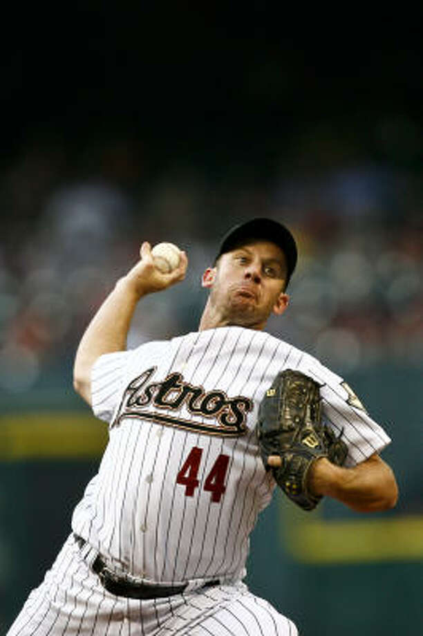 Roy Oswalt notched his 1,494 career strikeout to surpass J.R. Richard for second place on the club's all-time list. Photo: Michael Paulsen, Chronicle