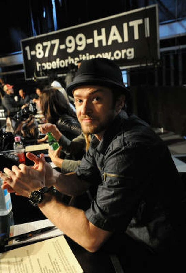 Justin Timberlake was among stars taking calls for donations at the telethon Friday night. Photo: MTV