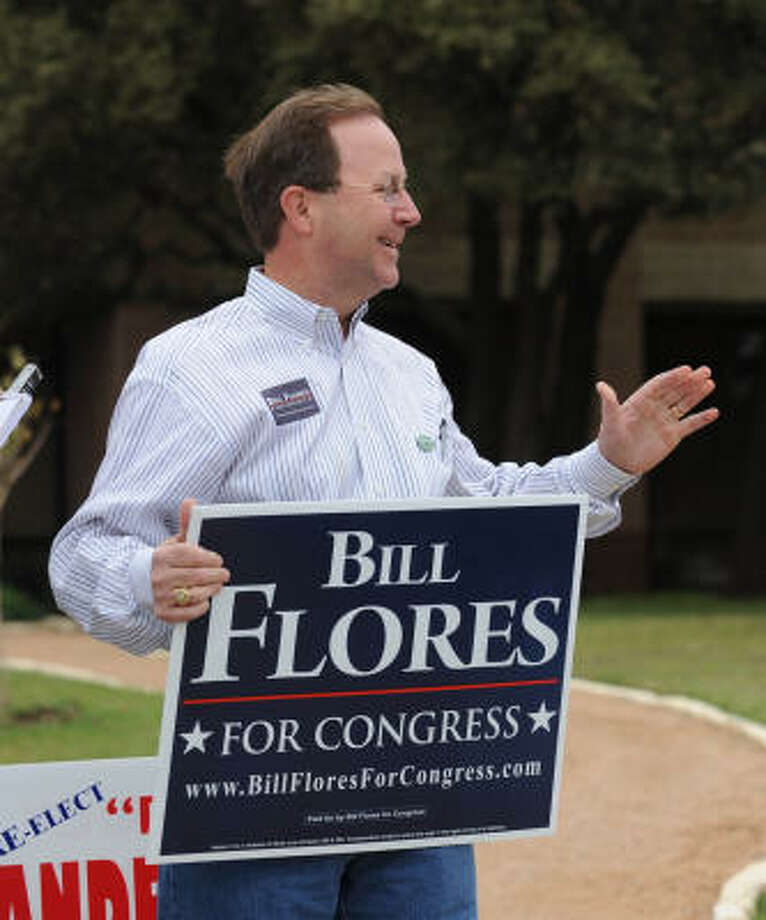 Republican Bill Flores campaigns outside the First Baptist Church of Woodway Tuesday in Waco. Photo: Rod Aydelotte, AP
