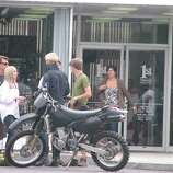 """Ryan Gosling shooting a scene for  """"The Place Beyond the Pines"""" at the 1st National Bank of Scotia. (Kelly Criscione/Special to the Times Union)"""