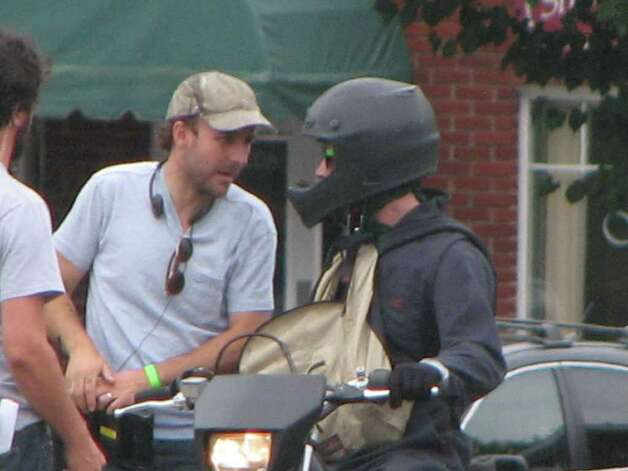 "Ryan Gosling shooting a scene for  ""The Place Beyond the Pines"" at the 1st National Bank of Scotia. (Kelly Criscione/Special to the Times Union)"