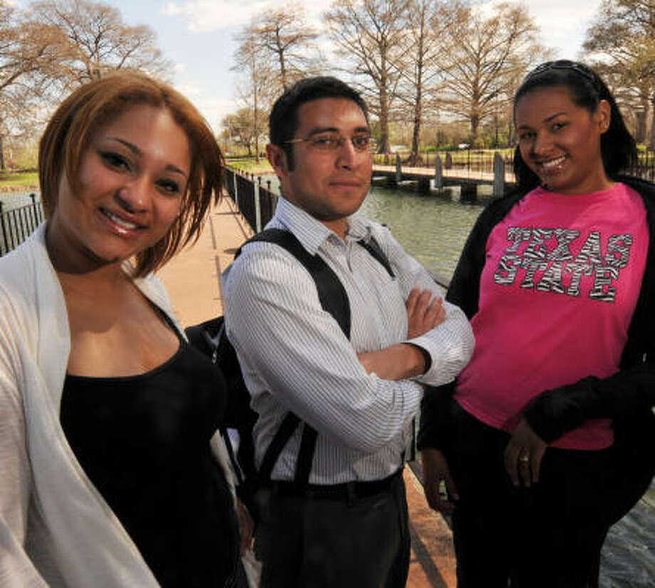 Texas State University has attracted more Hispanics including Ariana Vargas, left, of San Antonio; Christian Hernandez, of Dallas; and Janel Caminos, right, of Houston. Photo: Photo By Robin Jerstad, ALL