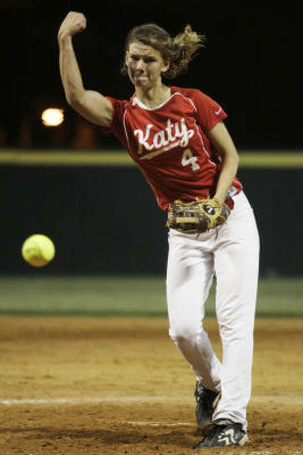Katy's Katie Marks pitches against Stratford in Game 3 of a best of three series to determine who will go on to the second round of the playoffs. Photo: Eric Kayne, For The Chronicle