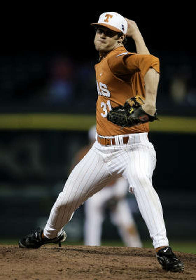 Texas closer Chance Ruffin ranks second in the nation with a 0.96 ERA in his 47 innings. Photo: Bob Levey, For The Chronicle