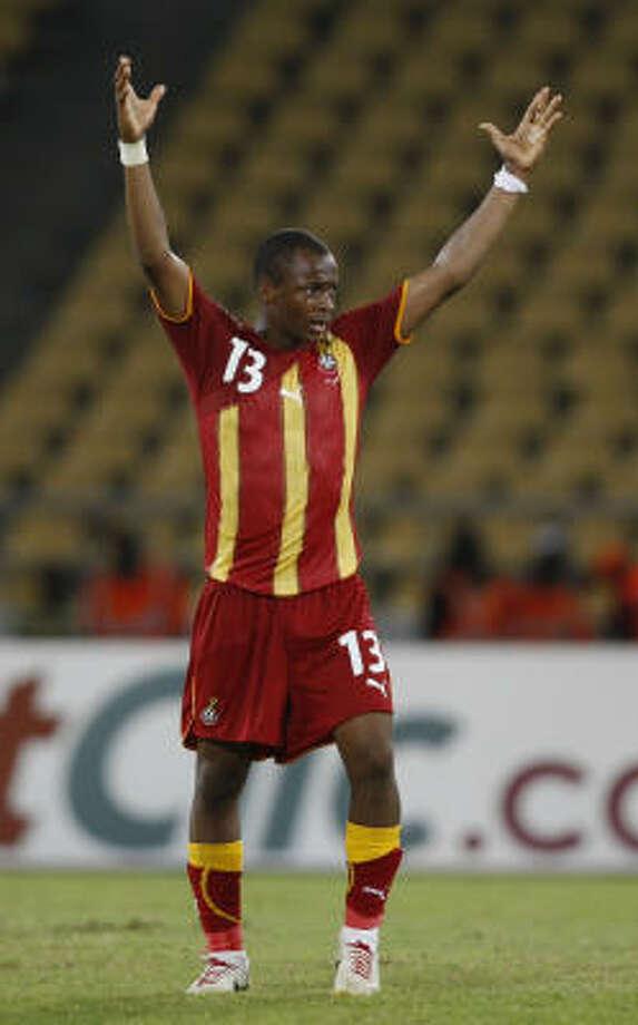 Ghana's Andre Ayew, who scored the game's only goal, celebrates Ghana's win over Burkina Faso. Photo: REBECCA BLACKWELL, AP