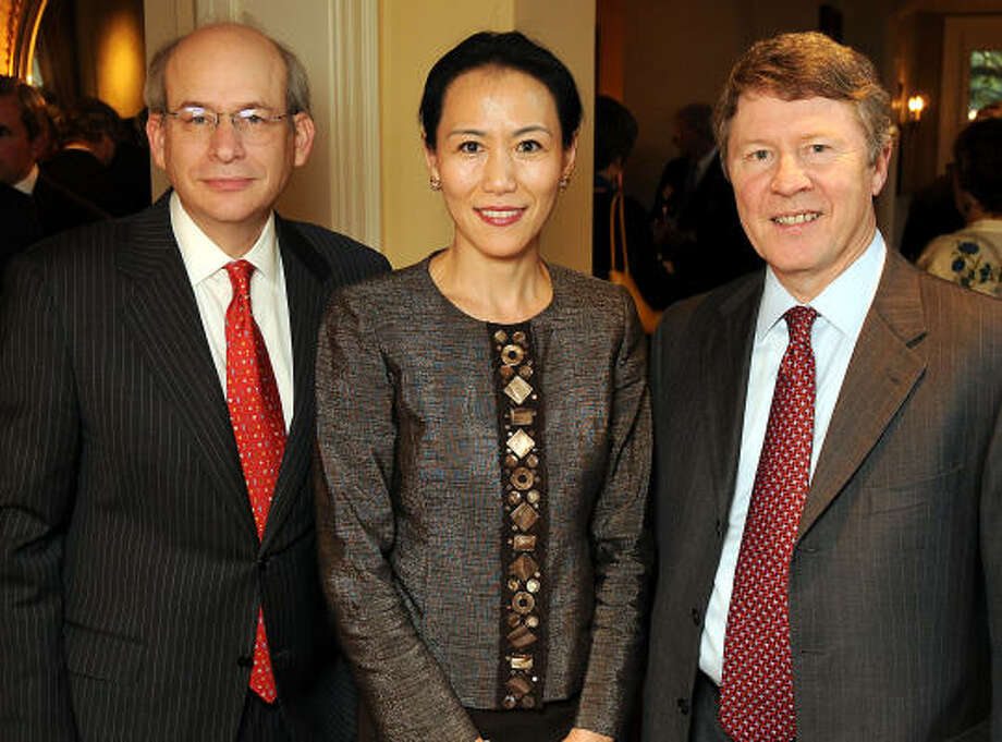Rice University president David Leebron, left, Y. Ping Sun and Harris County Judge Ed Emmett. Photo: Dave Rossman, For The Chronicle