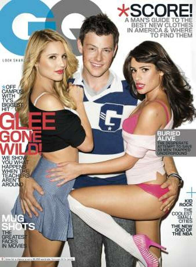 Glee's Dianna Agron, left, Cory Monteith and Lea Michele appear on the cover of the November issue of GQ - and in a more explicit slideshow on the magazine's website. Photo: Terry Richardson, AP