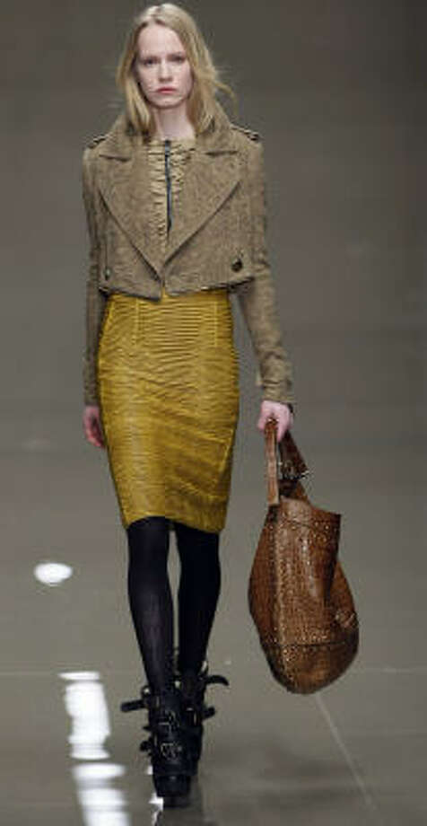 A model wears an outfit by designers Burberry Prorsum for their Autumn/Winter 2010 collection at London Fashion Week. Photo: Alastair Grant :, Associated Press