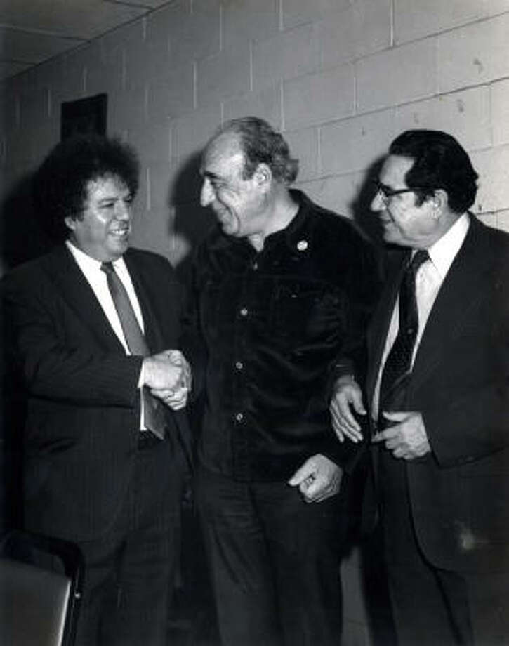Al Matta, right, U.S. Rep. Henry B. Gonzalez, D-San Antonio, center, and Houston attorney Frumencio Reyes. Photo: Houston Chronicle Library Scan