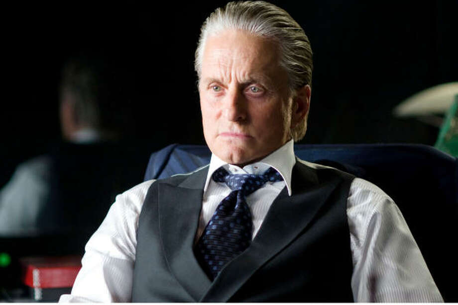Gordon Gekko (Michael Douglas) shows his flash today more subtly - in vests as opposed to the shiny suits of the 1980s - in Wall Street: Money Never Sleeps. Photo: Barry Wetcher