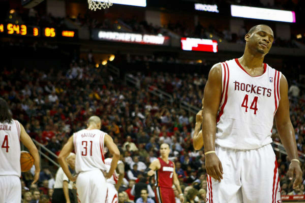 Center Chuck Hayes (44) and the Rockets came up just short in their bid to upset the Heat.