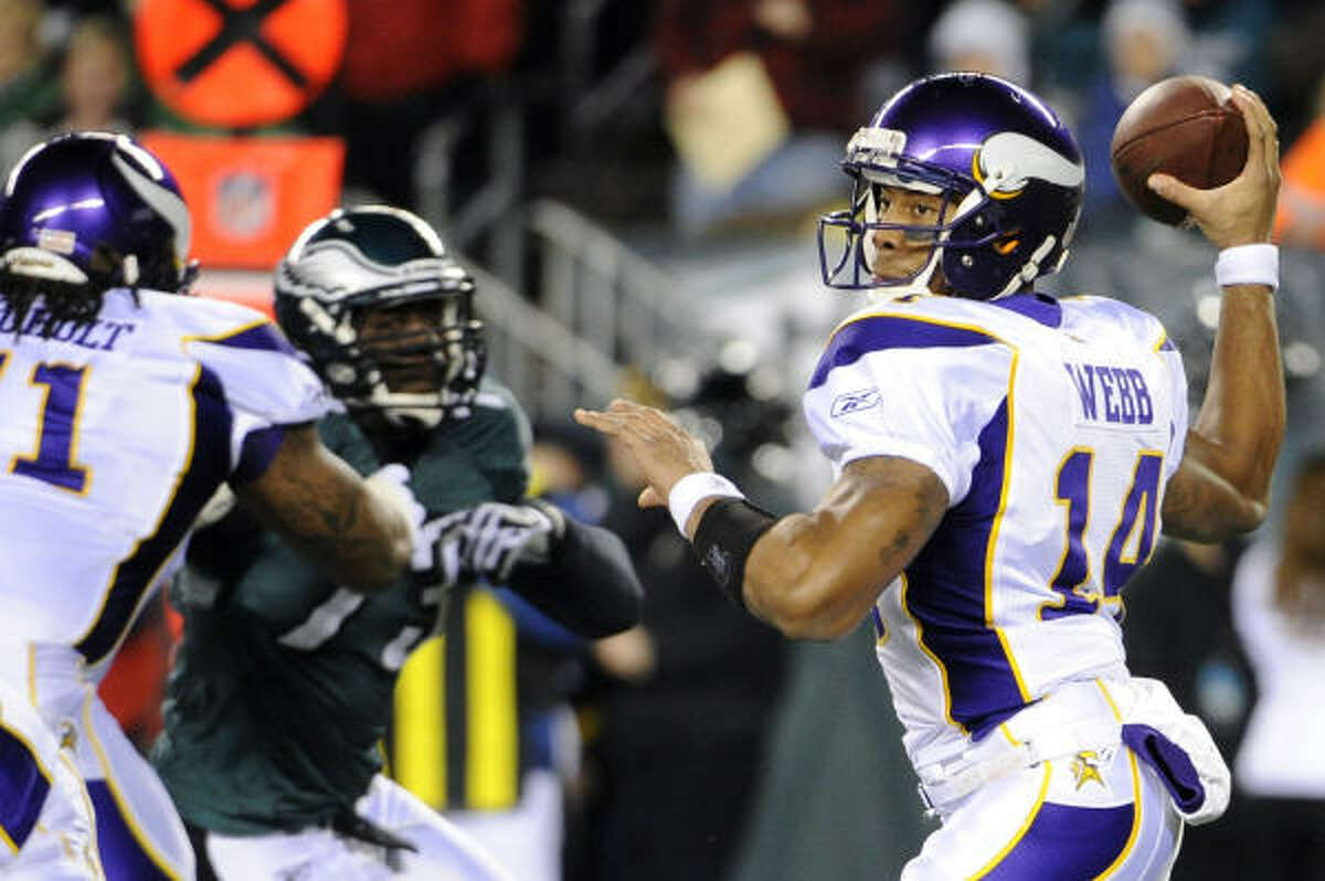 Dec. 28: Vikings 24, Eagles 14 Filling in for an injured Brett Favre, Vikings quarterback Joe Webb threw for 195 yards and ran for a touchdown in his first career start, lifting lowly Minnesota to a stunning win over the NFC East champs.