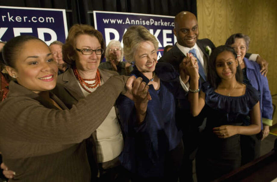 Mayor Annise ParkerParker is seen her with her family from left: daughter Daniela Parker, partner Kathy Hubbard, son Jovon Tyler, daughter Marquitta Parker and mother Kay Parker. Photo: Brett Coomer, Houston Chronicle