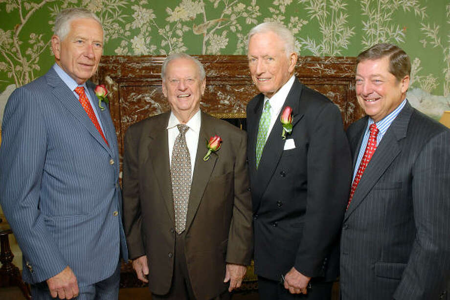 Jack Kendall, (far right)  president of North Side and West Side Lexus, is seen with Drayton McLane, Virgil Waggoner, Denton Cooley. Photo: Dave Rossman, For The Chronicle