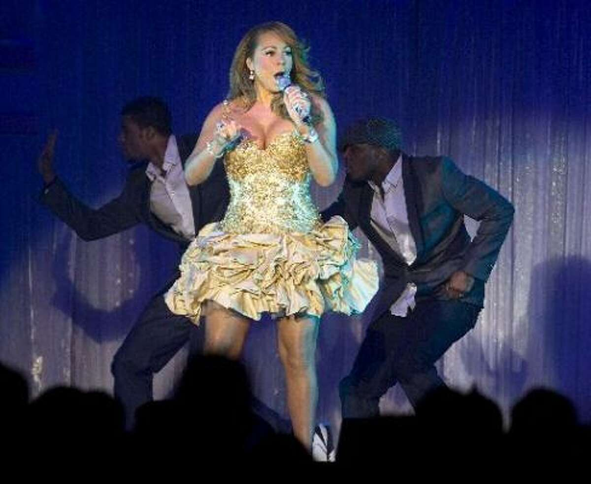 And when she came to Houston, Mariah didn't do much better with this ruffled nightmare.
