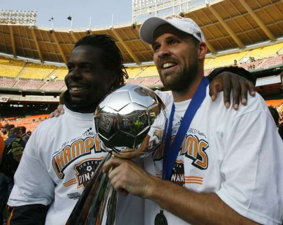 Joseph Ngwenya, left, with Craig Waibel, was a big part of the team's MLS championship in 2007. Photo: James Nielsen, Chronicle