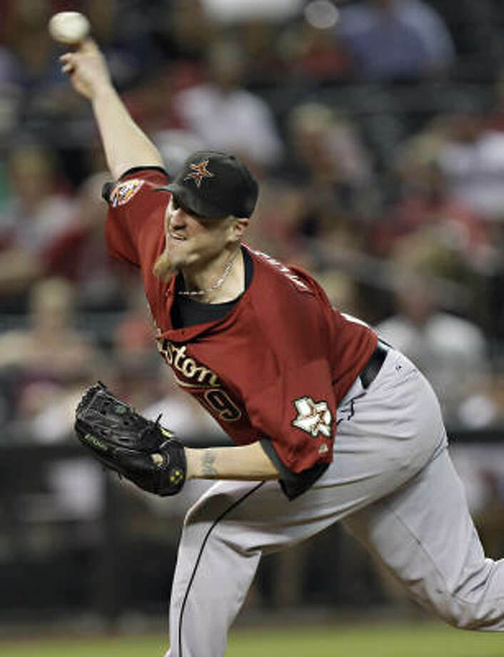 Astros starter Brett Myers received a no-decision after holding the Diamondbacks to three runs in six innings. Photo: Matt York, AP