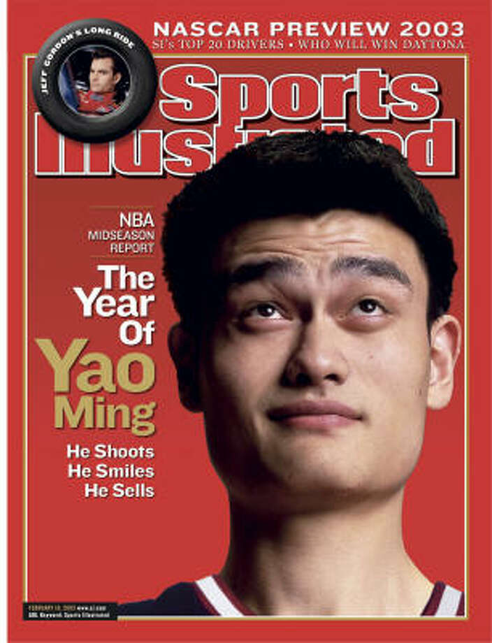 Yao averaged 13.5 points and 8.2 rebounds in his first season in 2002-03, finishing second to Phoenix's Amar'e Stoudemire in voting for NBA Rookie of the Year. Photo: Sprots Illustrated