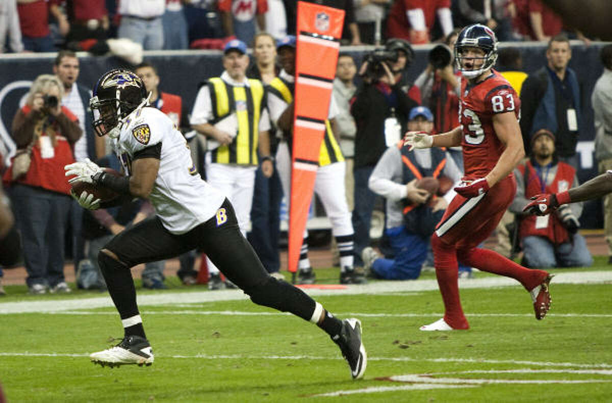 Dec. 13: Ravens 34, Texans 28 (OT) Ravens cornerback Josh Wilson runs past Texans wide receiver Kevin Walter as he returns an interception of a Matt Schaub pass 12 yards for a touchdown in overtime on Monday night.