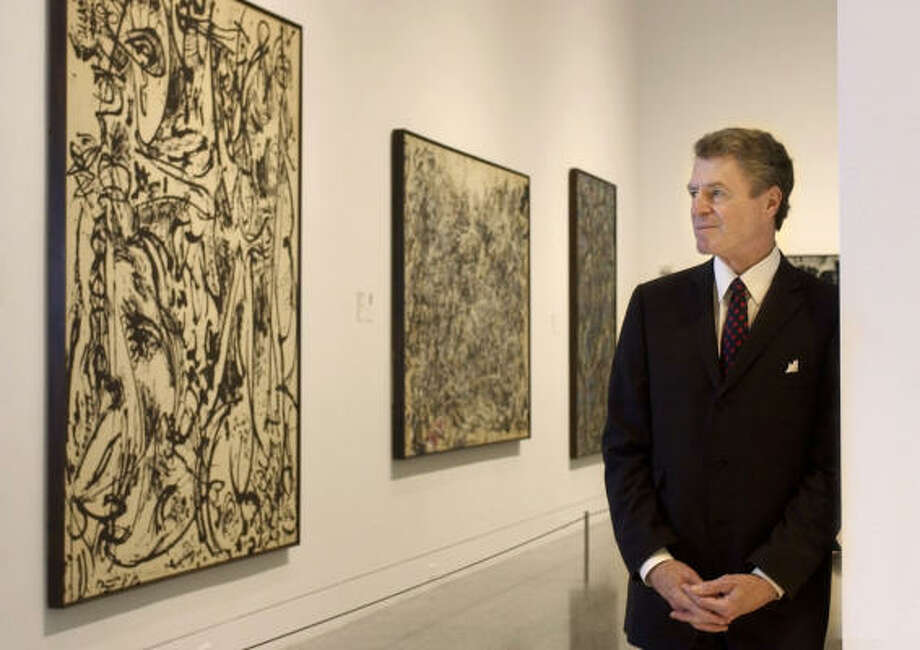 Works by Jackson Pollock: from left, Echo (Number 25, 1951), Number I, 1948  and Gothic. Shown in 2003. Photo: David J. Phillip, Associated Press File