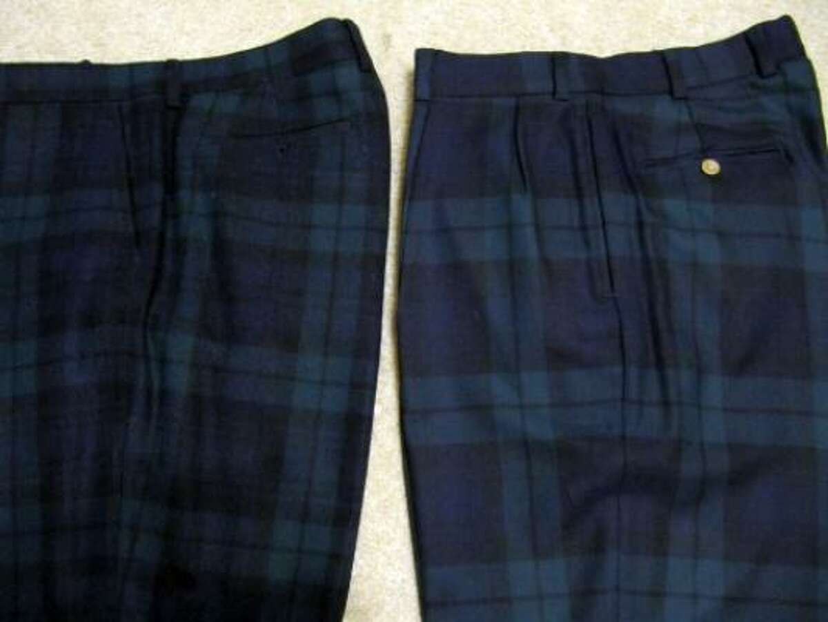 Blackwatch plaid trousers are an excellent complement to a navy, forest green or black tops. The tricky part is the fabric; the pants on the left are made of a thicker wool, which can get uncomfortable quickly. A lightweight wool (right) or cotton fabric is more practical in warmer climates like Houston's.